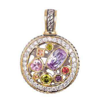 Free Shipping Amethyst Morganite Peridot Pink Topaz Ruby Pendant 925 Sterling Silver Beautiful Attractive Jewelry Pendant TE647