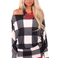Black and White Plaid Tunic Top or Dress