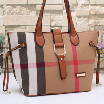 Burberry Women Leather Tote Handbag Shoulder Bag Satchel