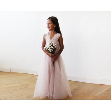Tulle and lace sleeveless Pink Flower Girls Gown 5046