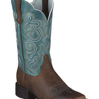 Ariat Quickdraw Blue Fancy Stitched Cowgirl Boots - Square Toe - Sheplers