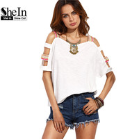 SheIn T shirt Women 2016 Clothing Summer Casual T-shirt Tops Ladies Beige Square Neck Cut Out Short Sleeve T-shirt