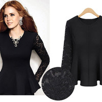 Black Lace Sleeves Gathered Waist Blouse