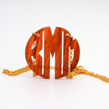 HandCrafted Acrylic 3 Initials Monogram Necklace - 1.5 inch Vine Personalized Monogram Custom Lasercut