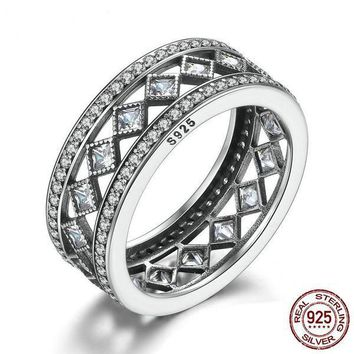 925 Sterling Silver Clear CZ Square Vintage Fascination