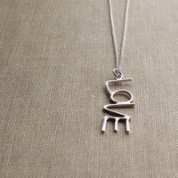 LOVE Necklace Sterling Silver Chain and Pendant by SDMarieJewelry