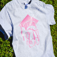 Monogram Class of 2014 Short Sleeve Glitter T-Shirt Sparkle Graduation Cap with Initials Tee Shirt Glitter Over Sized Monogram