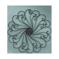 Metal Wall Sculpture Iron Black Scroll Antiqued Finish Large Decor Art New