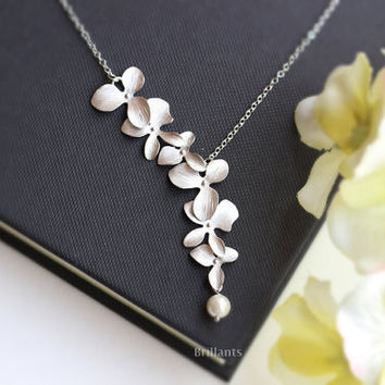 Beautiful Orchid Flower Pearl Necklace Unique Pendant Jewelry