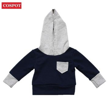 COSPOT Baby Boys Hoodies Boy Hooded Coat for Autumn Spring Boy's Cotton Sweatshirt Kids Cute Plain Tops 2018 New Arrival 28D