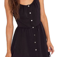 ROMWE Lace Panel Pleated Buttoned Slim Black Dress