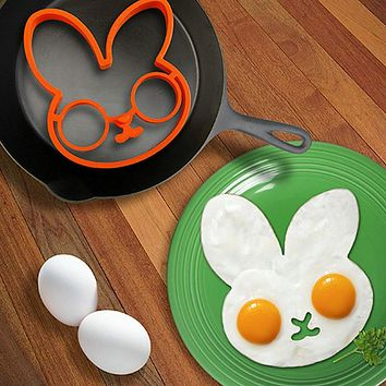 Silicone Bunny Cartoon Fried Fry Egg Frame Breakfast Mold Kitchen Tool Egg And Pancake Rings Kitchen Cooking Tool Accesoories