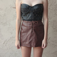 Edgy brown leather skirt by WerecatApparel on Etsy