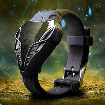 Mouse over image to zoom Details about  Mens Masculino LED Watch Digital Cobra Iron Man Triangle Sports Watch BLACK + Gift Box