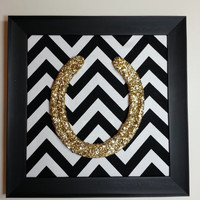 Framed Lucky Gold Glitter Horseshoe-Medium Framed-Chevron-Horse shoe, glitter horseshoe, lucky pony shop