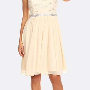Champagne Sleeveless Short Party Lace Dress A-line