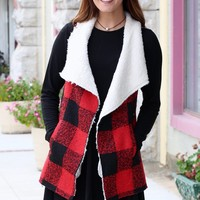 Checked Out Fur Lined Vest {Red+Black}