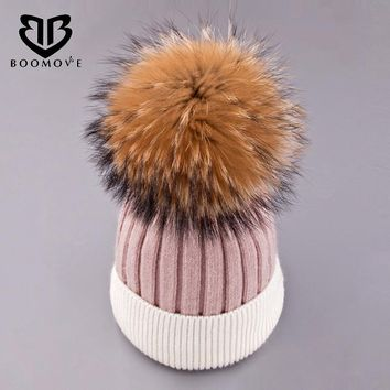 BOOMOVE Fox Fur Ball Cap Pom Poms Winter Hat For Women Girl 's Hat Knitted Beanies Cap Brand New Thick Female Cap Drop Shipping