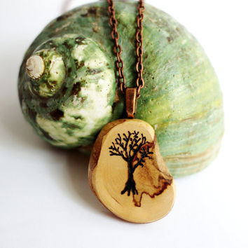 Tree of Life Necklace Wooden Pendant Reclaimed Cypress Wood Eco Friendly Sustainable Jewelry by Hendywood