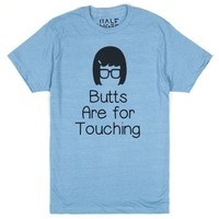 Butts are for touching-Unisex Heather Lake Blue T-Shirt