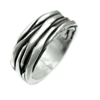 Handcrafted Tree Bark Silver Ring,Handmade Unisex Wide Band Sterling Silver Ring, Oxidized Thick Solid Silver Cuff Ring,Handmade, Rustic