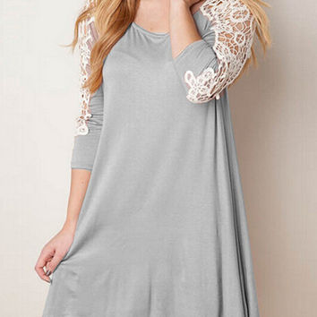 Grey Long Sleeves Contrast Lace Shift Dress