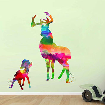 kcik2100 Full Color Wall decal Watercolor Bambi Character Disney Sticker Disney children's room Fawn