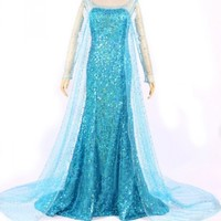 Women Adult Turquoise Frozen Elsa Halloween Cosplay Fairytale Costume