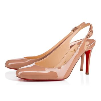 Christian Louboutin Cl Miss Gena Sling Nude Patent Leather 18s Pumps 1181028pk1a