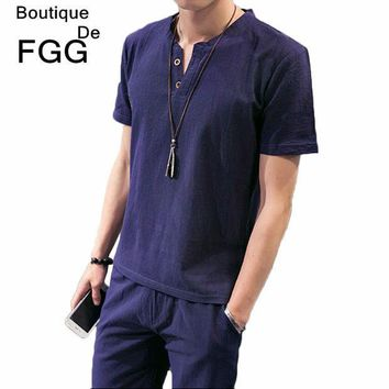 PEAPUNT Size M-5XL Men's Fashion Tops & Tees Summer Breathable Linen Navy Blue T Shirts Short Sleeves V Neck Buttons Casual T-Shirts