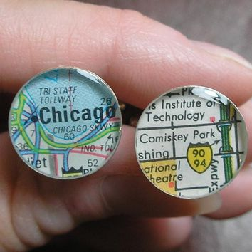 Chicago White Sox Map Baseball Cufflinks