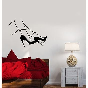 Vinyl Wall Decal Sexy Girl Legs Stiletto Heels Shoestore Stickers (3905ig)