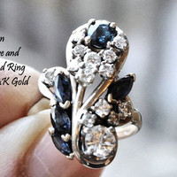 Sapphire Diamond Ring Antique 1800s Victorian Aesthetic Era Ring Cocktail Cluster Ring 14k 14 K Gold Almost 2 CT Circa 1885-1901 Heirloom
