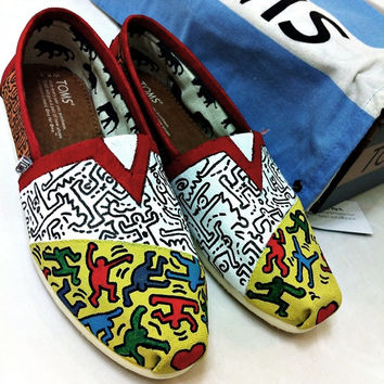 Keith Haring themed custom TOMS.