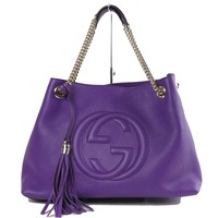 Gucci Soho Medium Leather Tote Shoulder Bag