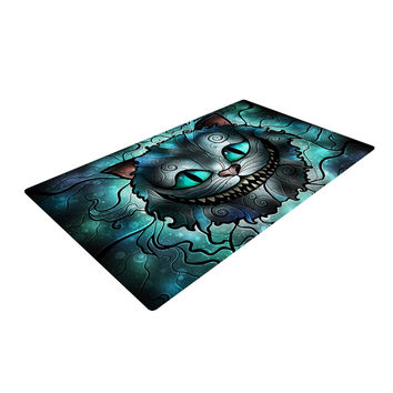 """Mandie Manzano """"Mad Chesire"""" Teal Cat Woven Area Rug"""