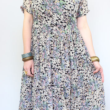 90s - Sheer Crinkle - Pastel Blue & Black - Romantic Floral - Button Up - Short Sleeve - Baby Doll - Maxi Dress