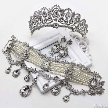 Luxury Large Set Bridal Wedding Jewelry Rhinestone Tiara Necklace Earrings