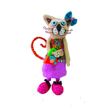 Cat sculpture, home design. Polymer clay, pink and purple, handmade, made in Israel, original art