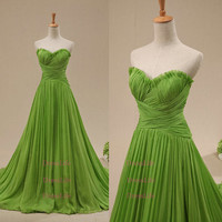 Grass Green Sweetheart Criss-Cross Bodice Empire Waist Court Train Evening Dresses/Prom Dresses/Cheap Evening Gown/Celebrity Dress/X145