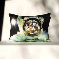 Astronaut Close-Up 16 x 12 Pillow Cover - NASA Space Shuttle Photo on Fabric