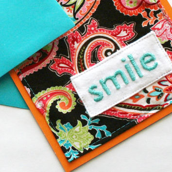 smile - hand embroidered greeting card, all occasion card, embroidered card, fabric card, notecard