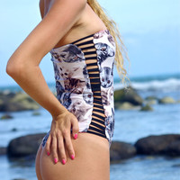 KIOWEA: Reversible Strapless Strappy One Piece Bathing Suit