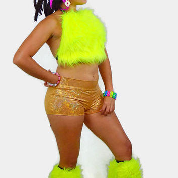 Neon Unicorn costume / Fur halter top / gold shorts / exotic wear / sexy top / EDC outfit / booty shorts / fluffies