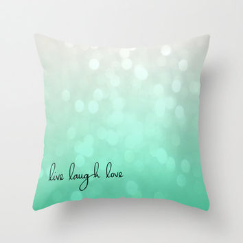 Live Love Laugh Bokeh Glitter Green Mint Throw Pillow Cover 16x16 Cottage Decor
