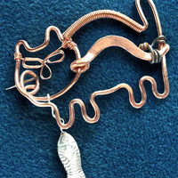Cat Pin, Brooch Pure Copper and sterling silver, Handcrafted