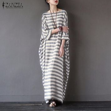 Women Elegant Striped Print Dress 2018 Spring ZANZEA Casual Loose O Neck Batwing Sleeve Maxi Long Dress Vestidos Plus Size
