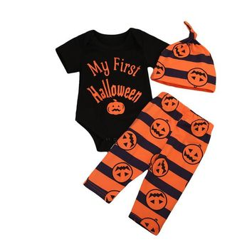 3PCS/My 1st Halloween Romper+ Pants+Hat Halloween Outfit for Newborn