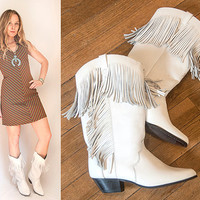 Womens White Leather Fringe Cowboy Boots Size 7 | Vintage 80s Leather Cowgirl Boots | Oak Tree Farms Brand Southwestern Punk 90s Soft Grunge