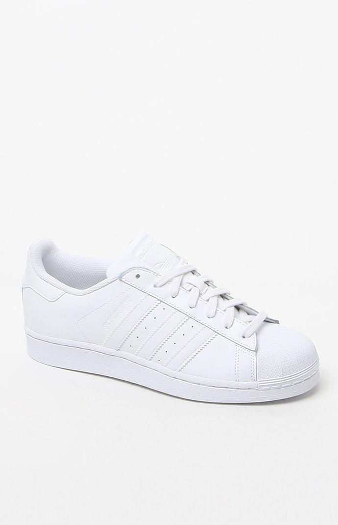 adidas White Stripe Superstar Low-Top Sneakers - Womens Shoes - White 45d04526b